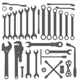 various wrench silhouette set vector image