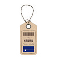 hang tag made in nauru with flag icon isolated on vector image