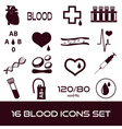 16 simple blood icons set eps10 vector image vector image