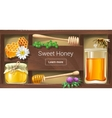 a wooden rack with honey vector image vector image
