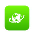 airplane fly around the planet icon digital green vector image
