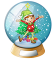 An elf in front of a christmas tree inside a vector image vector image
