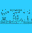 belgium brussels winter holidays skyline merry vector image vector image