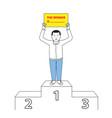 businessman standing on winner podium vector image vector image
