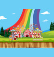 circus scene with tents and many rides vector image vector image