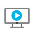 computer desktop with play button vector image vector image