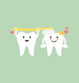 cute couple tooth are brushing teeth with heart vector image vector image