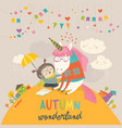 cute girl hugging unicorn autumn wonderland vector image vector image