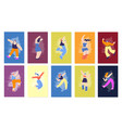 dancing happy disco people flat fest cards set vector image vector image