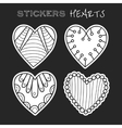decorative black and white hearts set of stickers