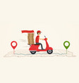 delivery service on scooter vector image vector image