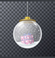design of glass bauble with gift inside vector image vector image