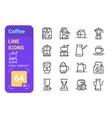 equipment to make good coffee line icon set vector image