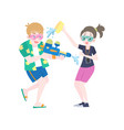 foreigners splashing water to each other vector image vector image