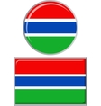 Gambian round and square icon flag vector image vector image