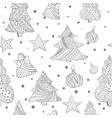 grayscale seamless with christmas fir trees toys vector image vector image