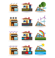 Green building with green energy sources vector image vector image