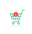 green thin line simple shopping cart with add vector image vector image