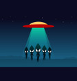 group of alien arrived on earth by ufo art vector image