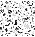 halloween black and white seamless pattern with vector image vector image