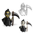 Halloween monsters isolated spooky reapers set vector image