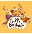 Happy Birthday card with a Cupcake and Pot vector image vector image