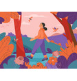 happy woman walking in forest scene young girl vector image vector image