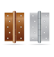 Hinges bronze color with silver steel texture vector image vector image