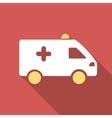 Hospital Car Flat Square Icon with Long Shadow vector image vector image