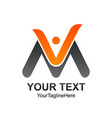 initial letter vm logo template colored orange vector image vector image