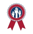 Isolated hand inside seal stamp of vote design vector image