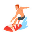 male surfer character riding on ocean wave with vector image vector image