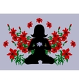Meditating woman surrounded with flowers vector image vector image
