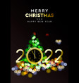merry christmas and happy new year 2022 - shining vector image vector image