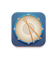 musical drum kit app icon with sticks vector image