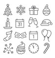 new year line icons on white background vector image vector image