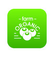 organic farm icon green vector image vector image