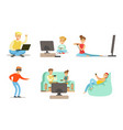 people playing video games set men women and vector image