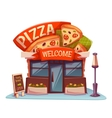 Pizzeria building with bright banner vector image
