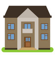private house with a brown roof and walls vector image