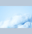 realistic white fluffy cloud isolated on blue vector image vector image