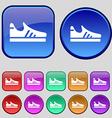 Running shoe icon sign A set of twelve vintage vector image