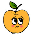 sad yellow apple on white background vector image vector image