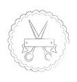 seal stamp with scissors icon vector image