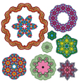 Set of 9 colorful round ornaments vector image vector image