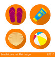 set of beach flat icons with long shadow on orange vector image vector image
