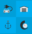 set of simple transportation icons elements vector image vector image