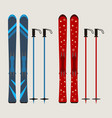set of ski and ski sticks - winter equipment vector image vector image
