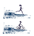 silhouette of marathon runner and cyclist race - vector image
