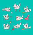small white cats different emotions and situations vector image vector image